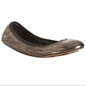 7 For All Mankind Gunmetal Metallic Babe Flats